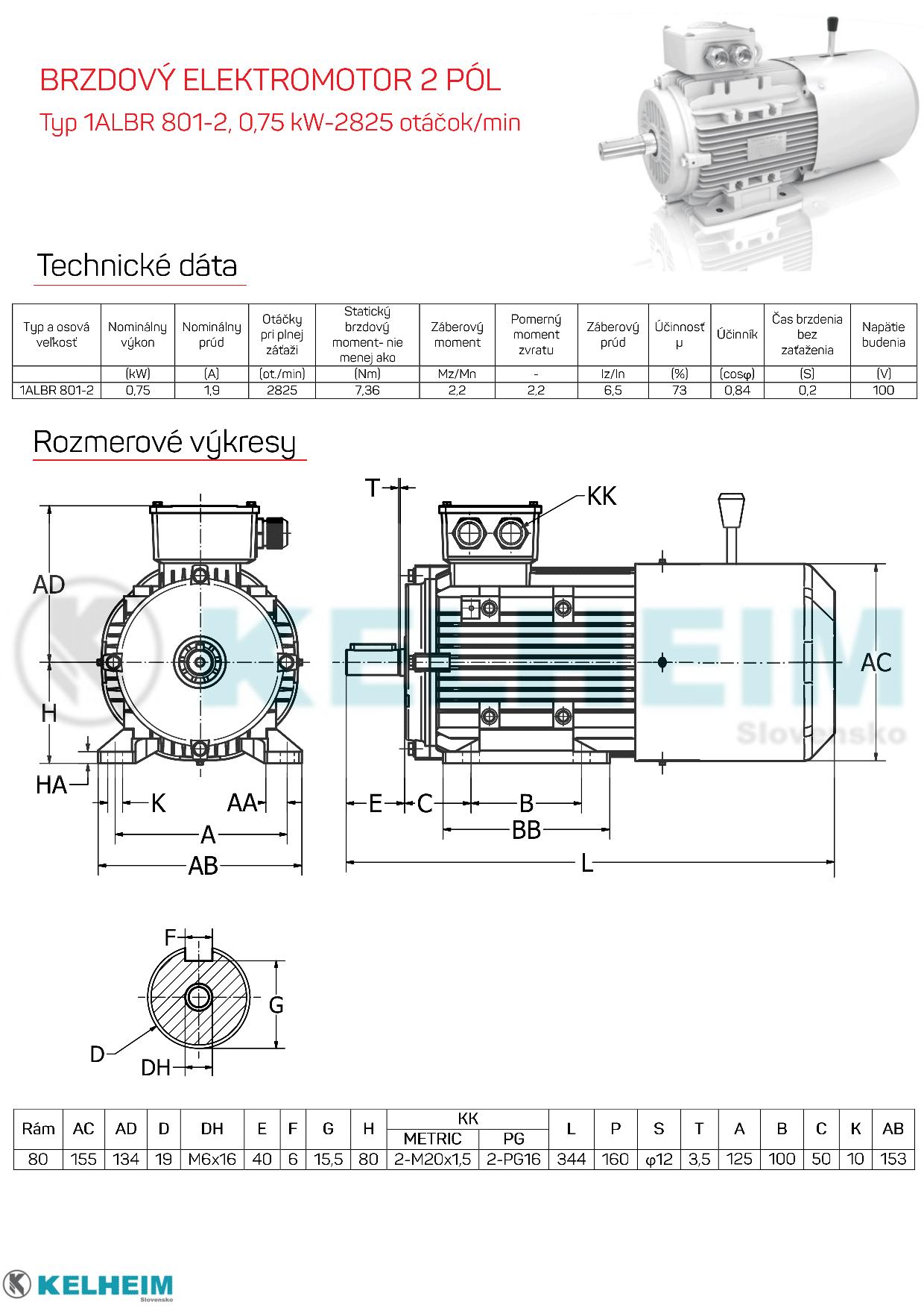 rozmerový výkres elektromotor s brzdou 0,75kw