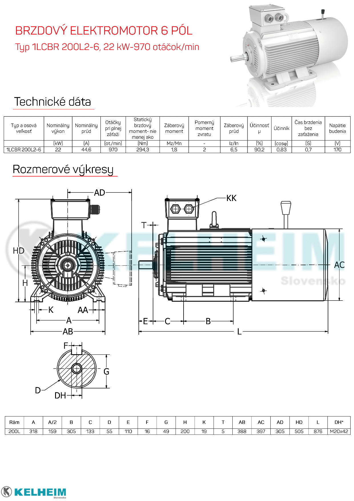 rozmerový výkres elektromotor s brzdou 22kw