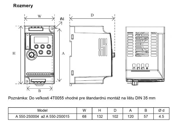 rozmerový výkres frekvenčný menič A550 2S0004 - 2S0015