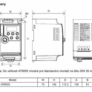 rozmerový výkres frekvenčný menič A550 2S0022