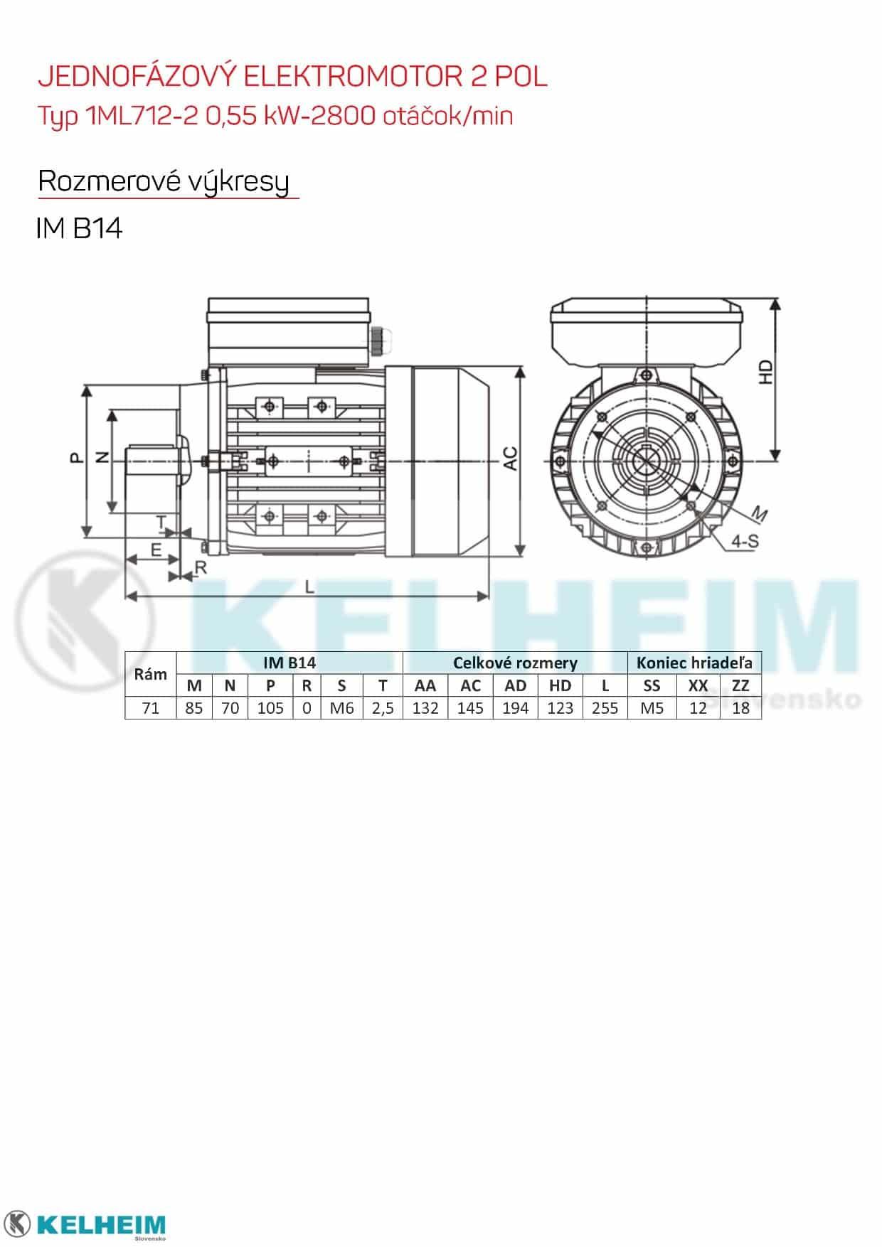 rozmerový výkres - jednofázový elektromotor 0,55kw ML712-2 B14
