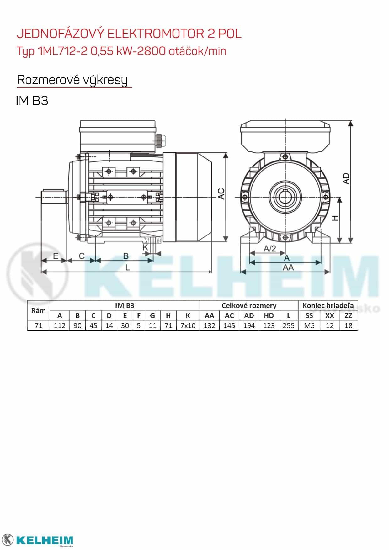 rozmerový výkres - jednofázový elektromotor 0,55kw ML712-2 B3