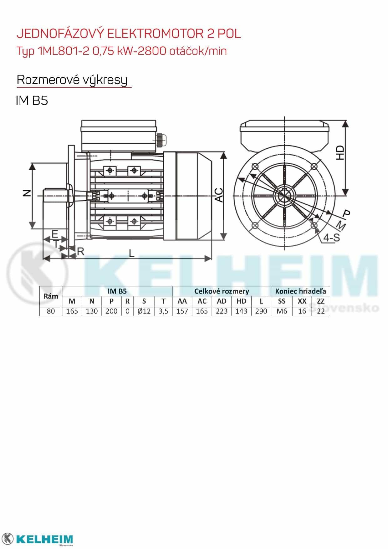 rozmerový výkres - jednofázový elektromotor 0,75kw ML801-2