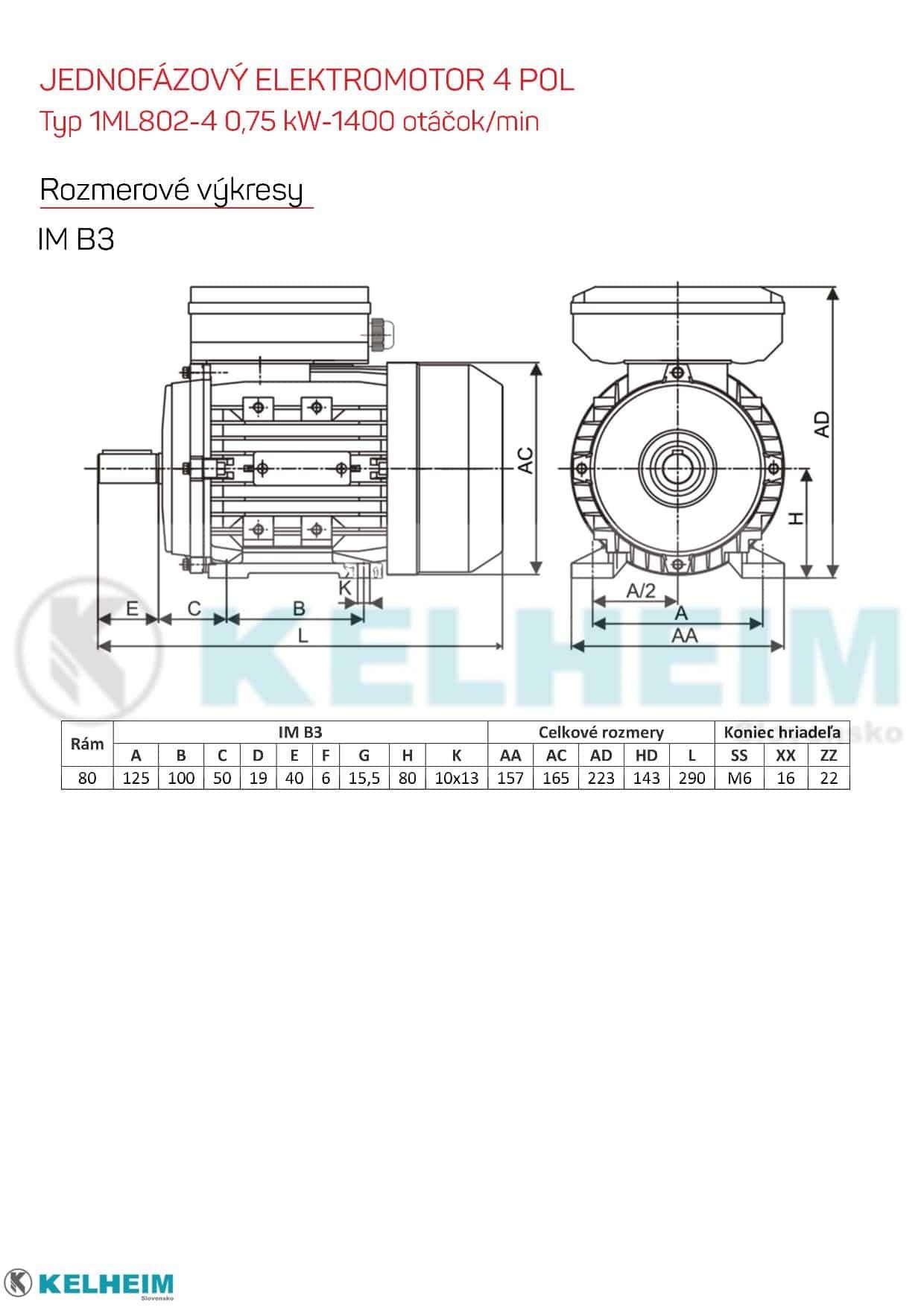 rozmerový výkres - jednofázový elektromotor 0,75kw ML802-4