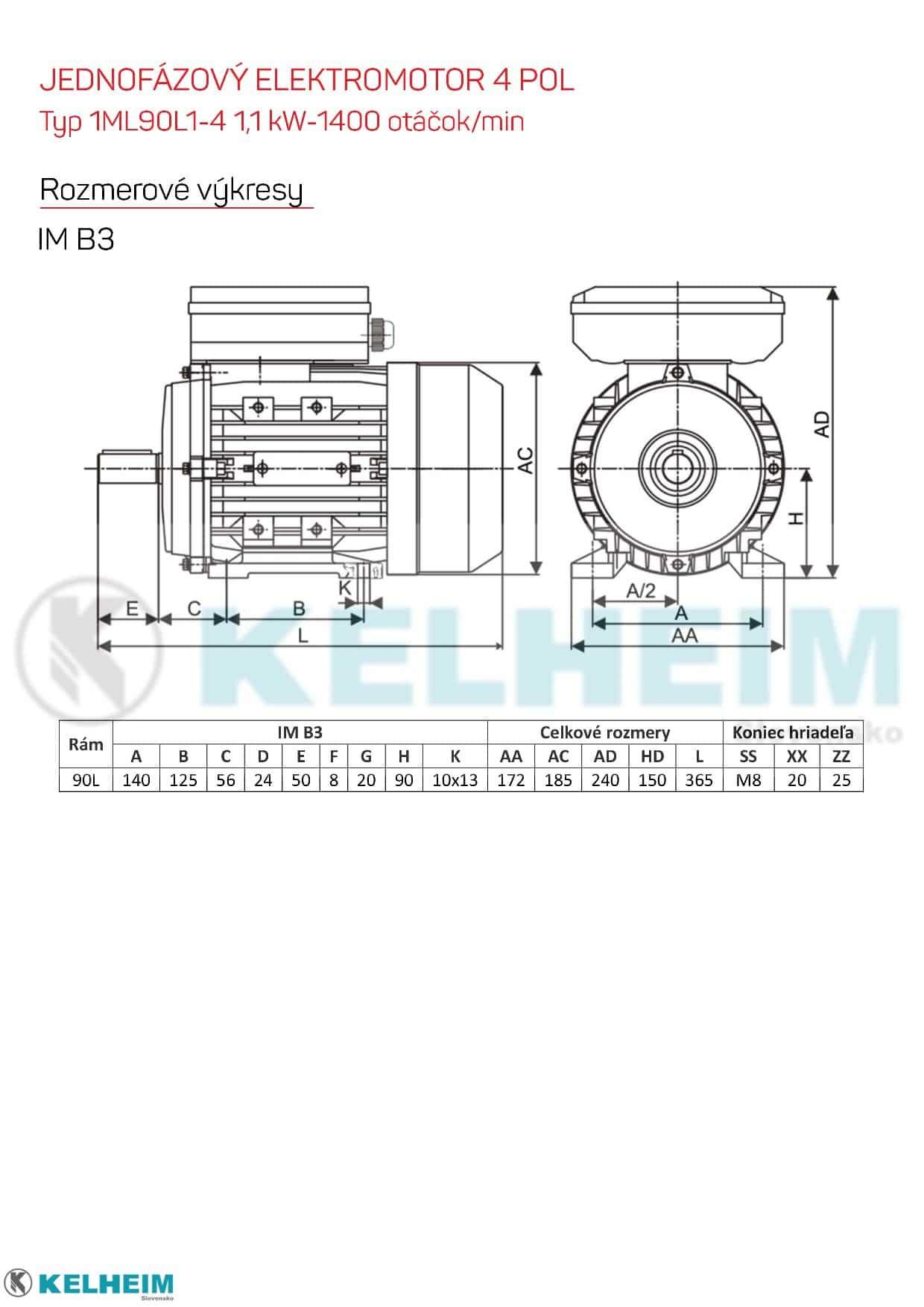 rozmerový výkres - jednofázový elektromotor 1,1kw ML90L1-4