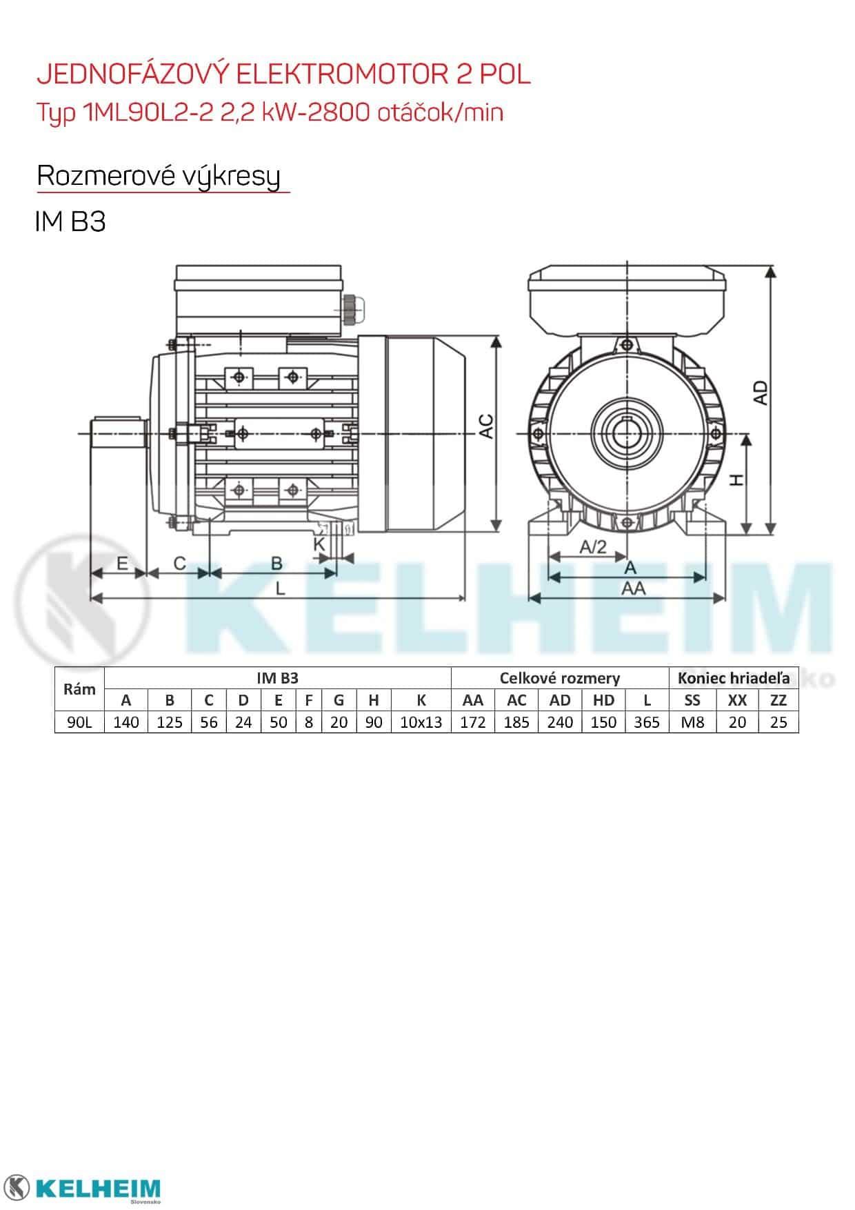 rozmerový výkres - jednofázový elektromotor 2,2kw ML90L2-2