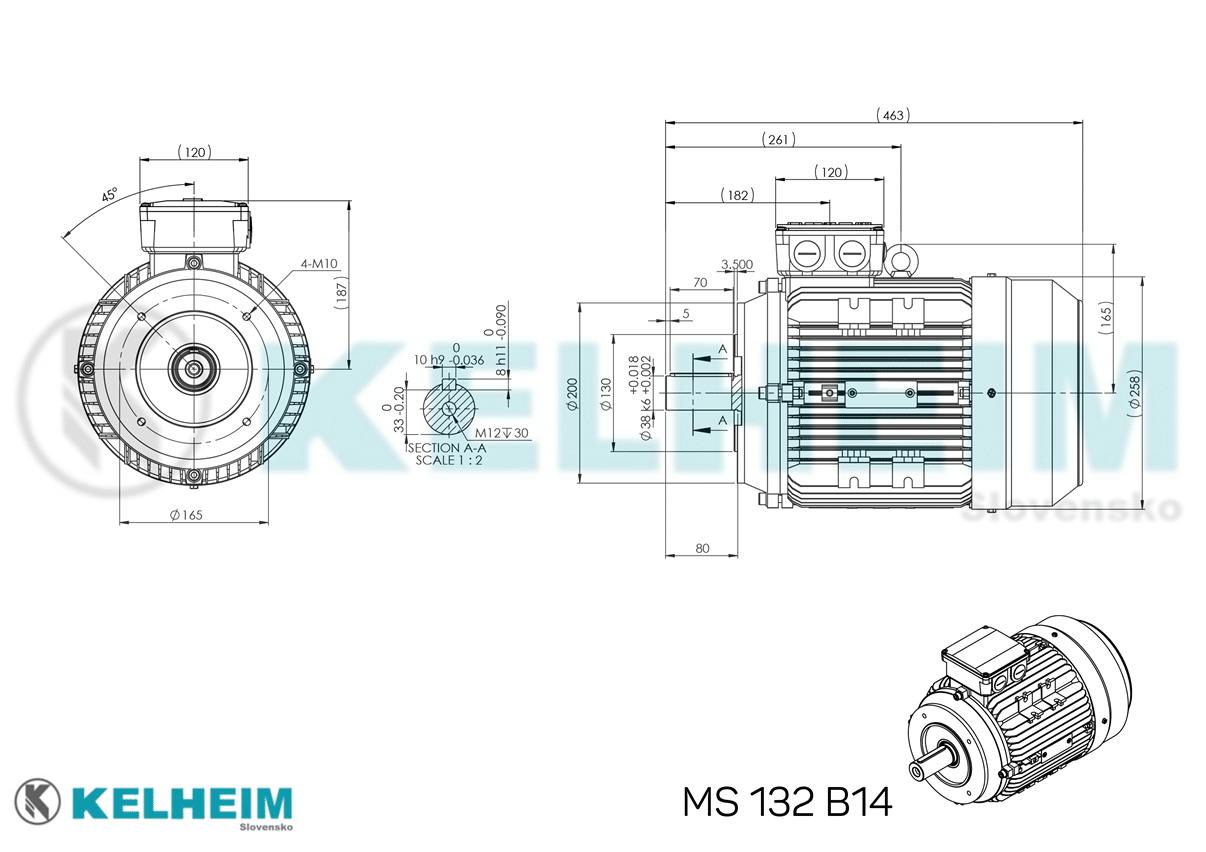 rozmerový výkres MS132B14