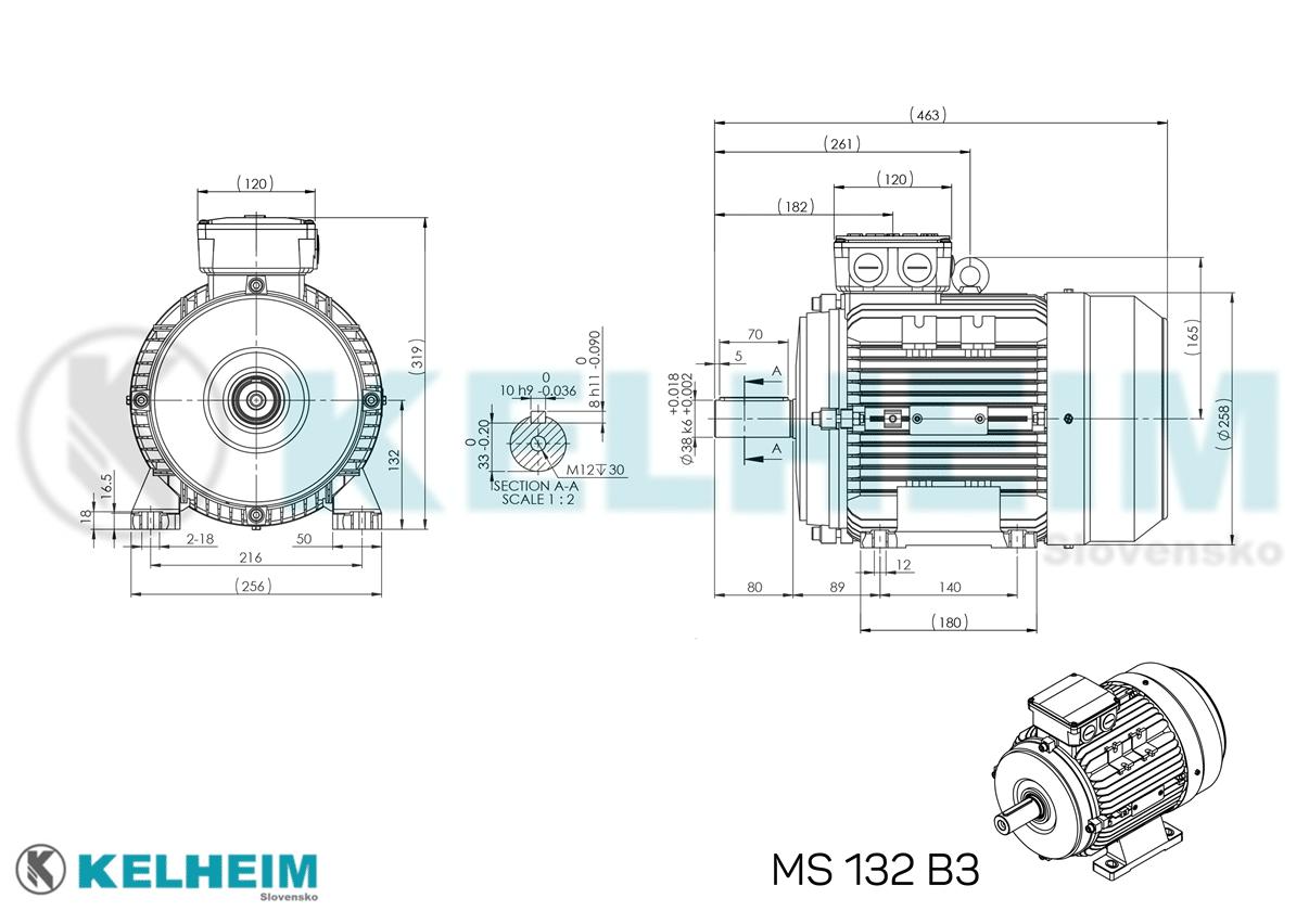 rozmerový výkres MS132B3