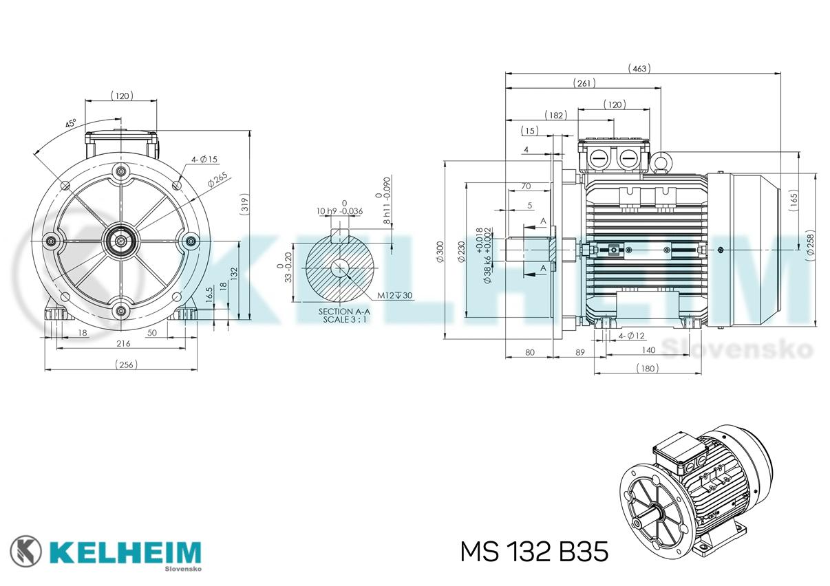 rozmerový výkres MS132B35