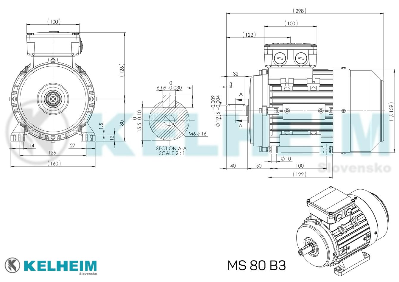 rozmerový výkres MS80B3