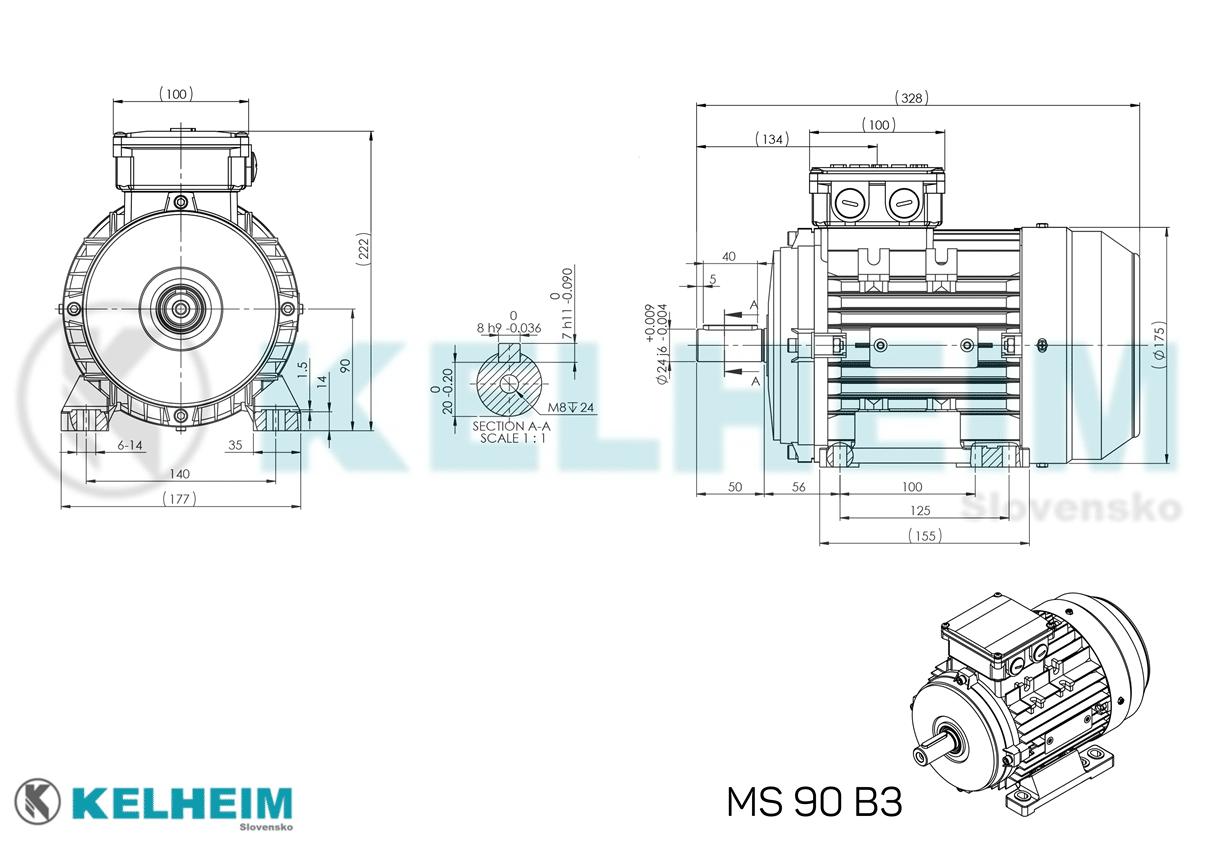 rozmerový výkres MS90B3
