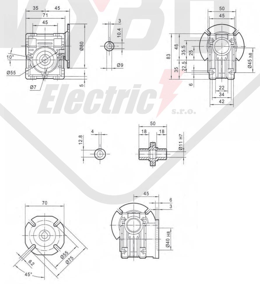 rozmery prevodovka PMRV025