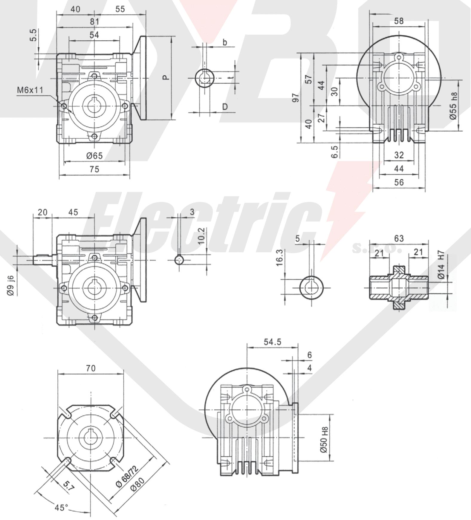rozmery šneková prevodovka PMRV030