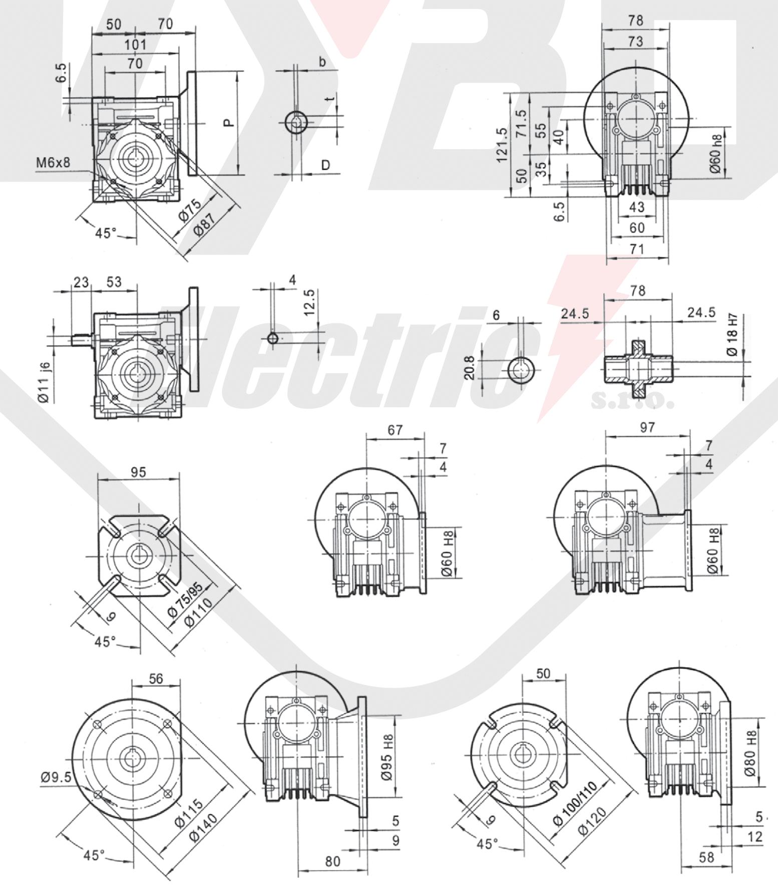 rozmery šneková prevodovka PMRV040