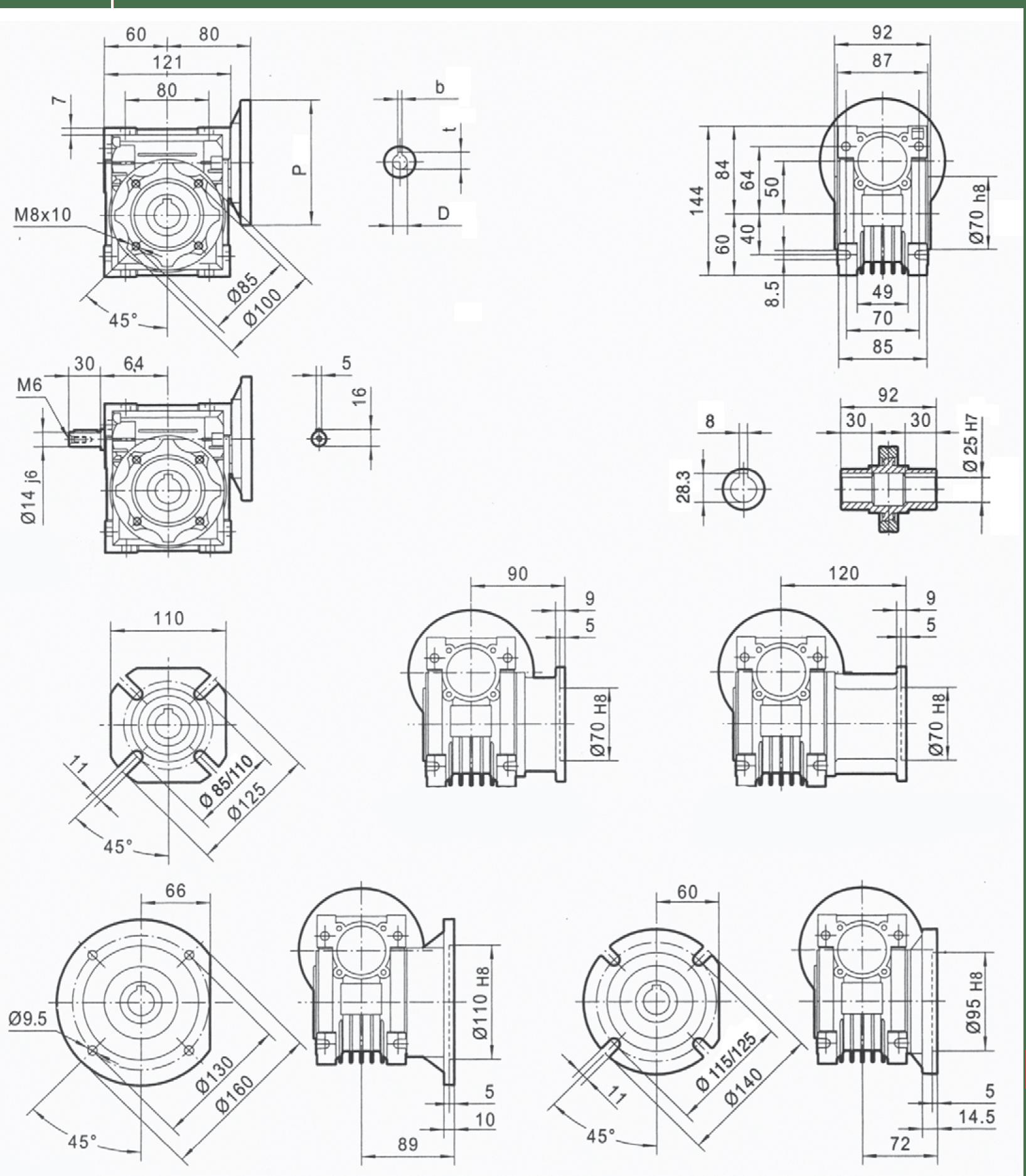 rozmery šneková prevodovka PMRV050