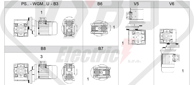 montážne polohy čelná medziprevodovka PS063