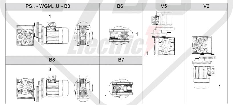 montážne polohy čelná medziprevodovka PS080