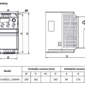 rozmerový výkres frekvenčný menič V800-2S022-2S0040