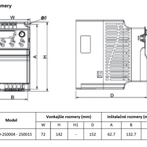 rozmerový výkres frekvenčný menič V800-2S004-2S0015