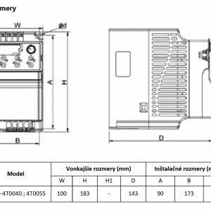 rozmerový výkres frekvenčný menič V800-4T0040-4T0055