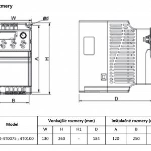 rozmerový výkres frekvenčný menič V800-4T0075-4T0100
