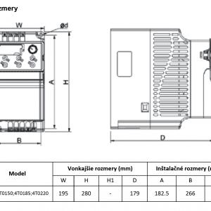 rozmerový výkres frekvenčný menič V800-4T0150-4T0220