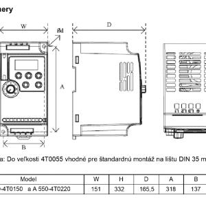 rozmerový výkres frekvenčný menič A550 4T0150 - 4T0220