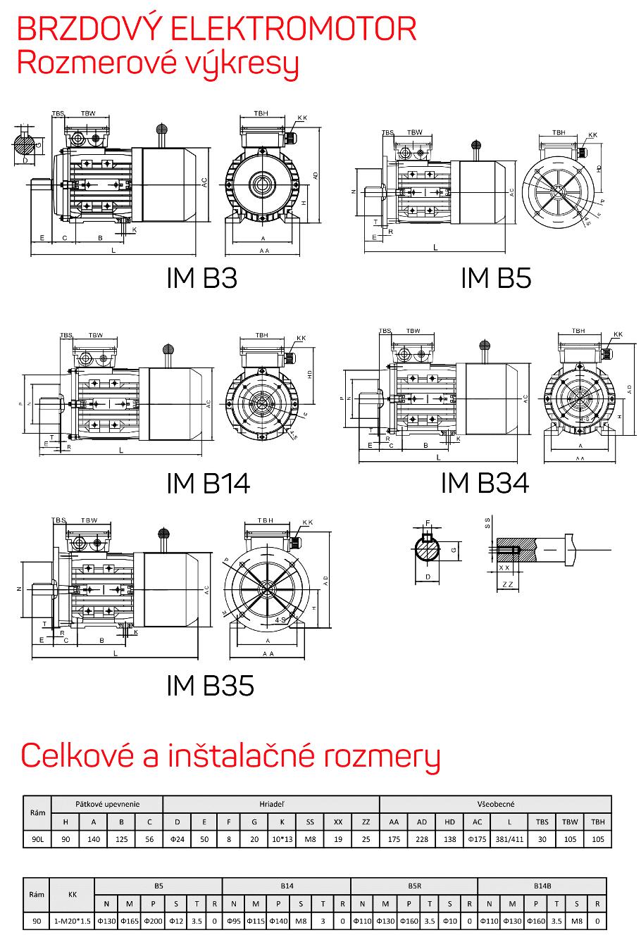 rozmerový výkres brzdové elektromotory rám 90L